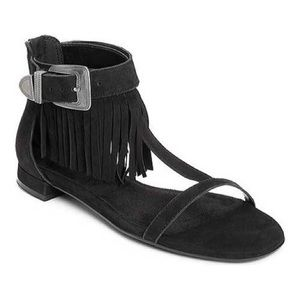 Aerosoles lowdown fringe boho black sandals